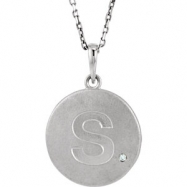 Sterling Silver Necklace Complete with Stone S Diamond Polished 36 Inch .005CT Diamond Necklace