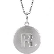 Sterling Silver Necklace Complete with Stone R Diamond Polished 35 Inch .005CT Diamond Necklace
