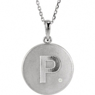Sterling Silver Necklace Complete with Stone P Diamond Polished 33 Inch .005CT Diamond Necklace