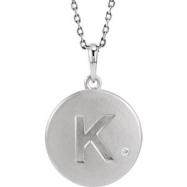 Sterling Silver Necklace Complete with Stone K Diamond Polished 28 Inch .005CT Diamond Necklace