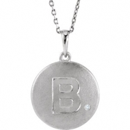 Sterling Silver Necklace Complete with Stone B Diamond Polished 19 Inch .005CT Diamond Necklace