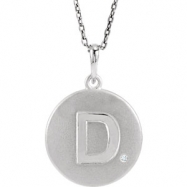 Sterling Silver Necklace Complete with Stone D Diamond Polished 21 Inch .005CT Diamond Necklace