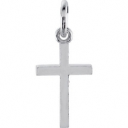 14kt White CHARM Complete No Setting 20.40X08.85 MM Polished POSH MOMMY COLL CROSS CHM W/JR