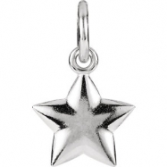 14kt White Charm with Jump Ring Complete No Setting 15.75X09.75 mm Polished Posh Mommy Star Charm wi
