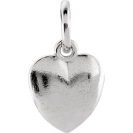 14kt White CHARM W/JUMP RING Complete No Setting 15.15X08.90 MM Polished POSH MOMMY HEART CHARM W/JU