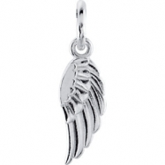 14kt White CHARM Complete No Setting 19.70X05.50 MM Polished POSH MOMMY COLL WING CHRM W/JR