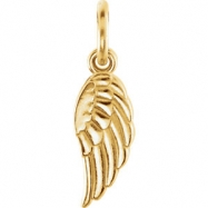 14kt Yellow CHARM Complete No Setting 19.70X05.50 MM Polished POSH MOMMY COLL WING CHRM W/JR
