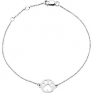 Sterling Silver BRACELET Complete No Setting 07.00 INCH Polished OUR CAUSE FOR PAWS BRACELET