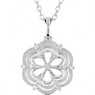 Sterling Silver NECKLACE Complete with Stone ROUND VARIOUS Diamond Polished .08CTW DIA 18 INCH NECKL
