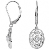 Sterling Silver EARRINGS Complete with Stone NONE ROUND VARIOUS Diamond Polished 1/10 CTW DIA EARRIN