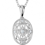 Sterling Silver NECKLACE Complete with Stone ROUND VARIOUS Diamond Polished .05CTW DIA 18 INCH NECKL