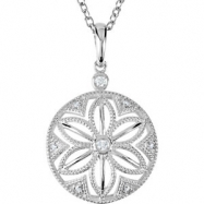 Sterling Silver NECKLACE Complete with Stone ROUND VARIOUS Diamond Polished .04CTW DIA 18 INCH NECKL