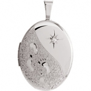 Gold Plated Sterling Pendant Complete with Stone 19.20X15.00 MM Polished .01 CT DIA OVAL FOOTPRINTS