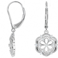 Sterling Silver EARRINGS Complete with Stone NONE ROUND VARIOUS Diamond Polished 1/6CTW DIA EARRINGS
