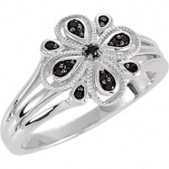 Sterling Silver Ring 07.00 Complete with Stone ROUND VARIOUS Polished GENUINE BLACK SPINEL RING