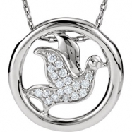 Sterling Silver NECKLACE Complete with Stone 18.00 INCH ROUND VAROIUS Diamond Polished 1/8CTW DOVE N