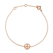 14kt Rose BRACELET Complete No Setting 05.75-06.75  INCH Polished TINY PEACE SIGN BRACELET