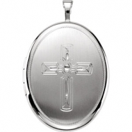 Sterling Silver Pendant Complete No Setting 26.00X20.00 MM Polished OVAL CROSS LOCKET