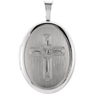 Sterling Silver Pendant Complete No Setting 19.20X15.00 MM Polished OVAL CROSS LOCKET