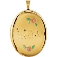 Gold Plated Sterling Pendant Complete No Setting 26.00X20.00 MM Polished OVAL MOM LOCKET WITH COLOR