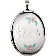 Sterling Silver Pendant Complete No Setting 26.00X20.00 MM Polished OVAL MOM LOCKET WITH COLOR