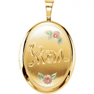 Gold Plated Sterling Pendant Complete No Setting 19.20X15.00 MM Polished OVAL MOM LOCKET WITH COLOR