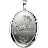 Sterling Silver Pendant Complete No Setting 19.20X15.00 MM Polished OVAL MOM LOCKET WITH COLOR