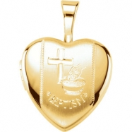 Gold Plated Sterling Pendant Complete No Setting 12.50X12.00 MM Polished BAPTISM HEART LOCKET