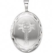 Sterling Silver Pendant Complete No Setting 19.20X15.00 MM Polished OVAL CELTIC CROSS LOCKET