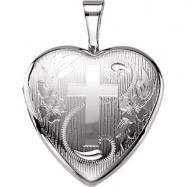 Sterling Silver Pendant Complete No Setting 12.50X12.00 MM Polished HEART LOCKET WITH CROSS