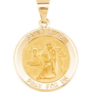 14kt Yellow Pendant Complete No Setting 18.50 MM Polished ROUND HOLLOW ST. LUKE MEDAL