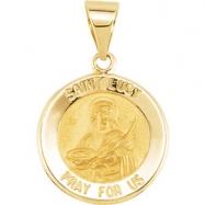 14kt Yellow Pendant Complete No Setting 15.00 MM Polished ROUND HOLLOW ST. LUCY MEDAL