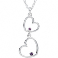 "Sterling Silver NECKLACE Complete with Stone ROUND 01.50 AND 01.75 MM AMETHYST Polished 18"" DOUBLE H"