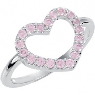 Sterling Silver Ring Complete with Stone ROUND 01.70 MM PINK CUBIC ZIRCONIA Polished HEART RING