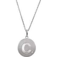Sterling Silver Necklace Complete with Stone C Diamond Polished 20 Inch .005CT Diamond Necklace