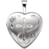 Sterling Silver 15.80X16.00 MM Polished HEART LOCKET WITH CROSS