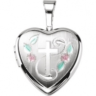 Sterling Silver 12.50X12.00 MM Polished CROSS HEART LOCKET WITH COLOR