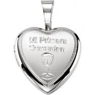 Sterling Silver 12.50X12.00 MM Polished MI PRIMERA COMUNION HEART LOCK