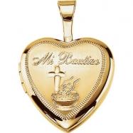 Gold Plated Sterling 12.50X12.00 MM Polished MI BAUTIZO HEART LOCKET