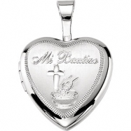 Sterling Silver 12.50X12.00 MM Polished MI BAUTIZO HEART LOCKET