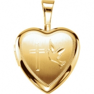 Gold Plated Sterling 12.50X12.00 MM Polished CROSS/DOVE HEART LOCKET