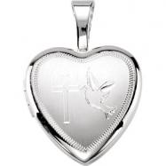 Sterling Silver 12.50X12.00 MM Polished CROSS/DOVE HEART LOCKET