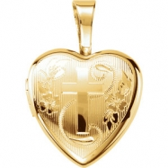 Gold Plated Sterling 12.50X12.00 MM Polished CROSS HEART LOCKET