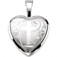 Sterling Silver 12.50X12.00 MM Polished CROSS HEART LOCKET