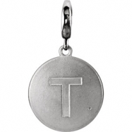 Sterling Silver Pendant Mounting T ROUND 01.00 MM No Stone Polished INITIAL DIS CHARM W/GMSTN ACC