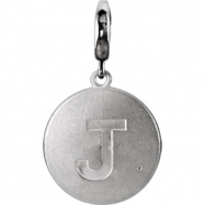 Sterling Silver Pendant Mounting J ROUND 01.00 MM No Stone Polished INITIAL DIS CHARM W/GMSTN ACC