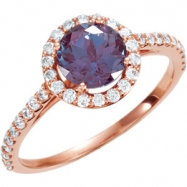 14kt Rose Engagement Complete with Stone I2 Round 06.50 MM Alexandrite Polished 3/8CTW DIAM & ALEXAN