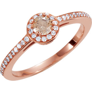 14kt Rose Engagement Complete with Stone SI2-SI3 Round 04.10 MM Polished 3/8CTW ENG RING. Price: $1130.31