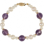 14kt Yellow BRACELET Complete with Stone VARIOUS VARIOUS AMETHYST AND PEARL Polished 7.5 INCH BRACEL