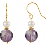 14kt Yellow EARRING Complete with Stone VARIOUS VARIOUS AMETHYST AND PEARL Polished EARRINGS